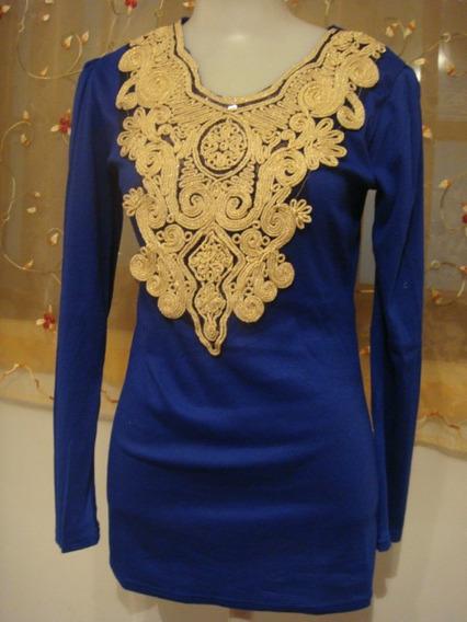 Blusa Azul Mini Vest Bordado Dourado Importada Ja No Brasil