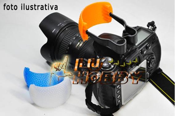 Difusor Flash Pop-up 3 Cores Canon Nikon Fuji Pentax Sony