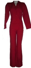 Terninho Calça E Casaco Cor Vermelho Ferrari Veste 40