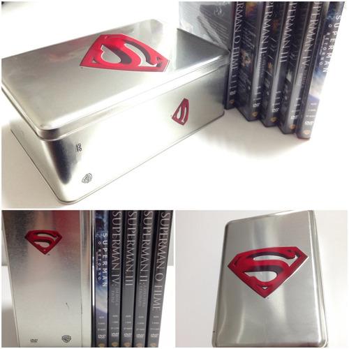 Imagem 1 de 10 de Combo Box Dvd Superman  Superhomem - 5 Dvds + Lata Exclusiva