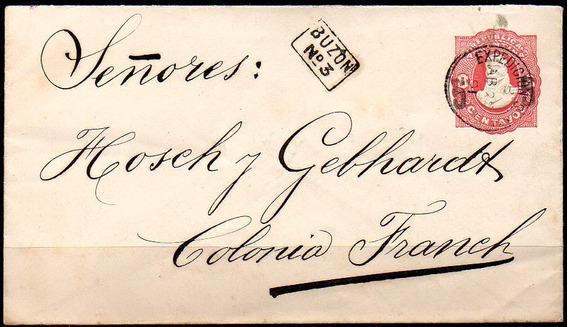 Argentina 1891 - Sobre Entero De 5 S/8 Cts A Colonia Franck