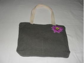 Bolsa Em Linho Verde / Flor Roxa Com Ziper