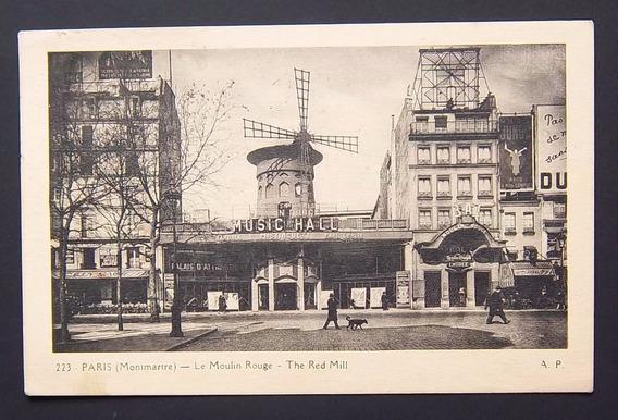 Postal Francia Paris Moulin Rouge Usada Exc 1928