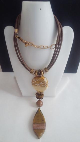 Collar+aretes - Ocre Metalico Textil-