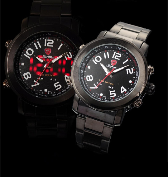 Relógio Shark Prickly Black Sport Genuíno - Modelo Masculino