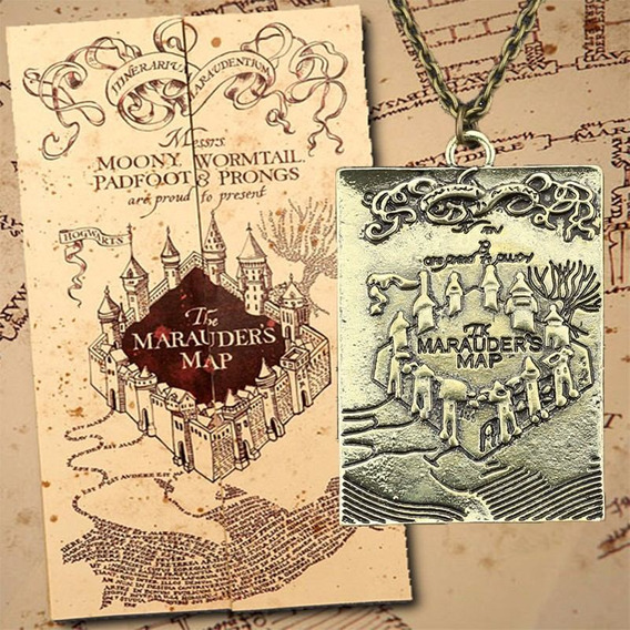 Colar Cordão Harry Potter Pedaço Do Mapa Do Maroto