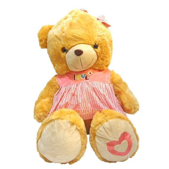 Ursinho De Pelúcia Infantil Marrom Coração Brinquedo Ch1504