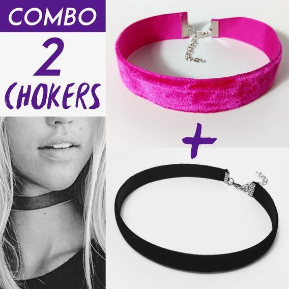 Kit Combo Gargantilha Choker Veludo Pink + Veludo Preto