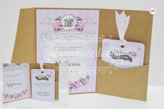 Tarjetas De Invitación 15 Años Con Cinta/tag