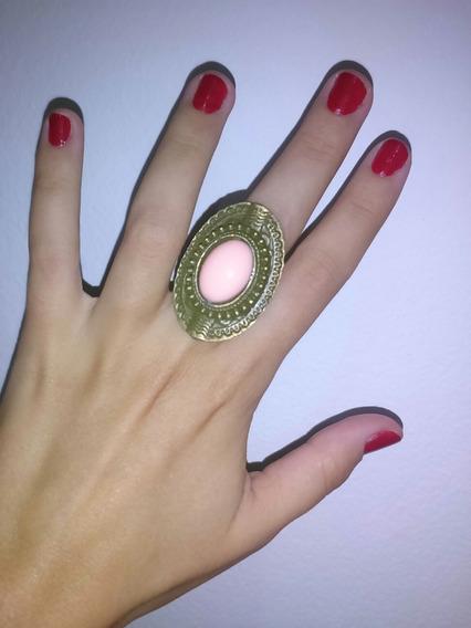 Anel Oval Vintage Retrô Cor Ouro Velho Com Pedra Rosa
