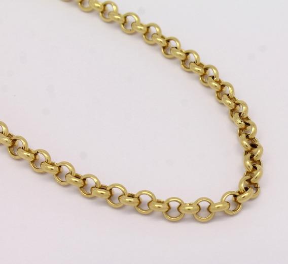 Cordão Elo Português 45cm Banhado A Ouro 18k Feminina 3mm