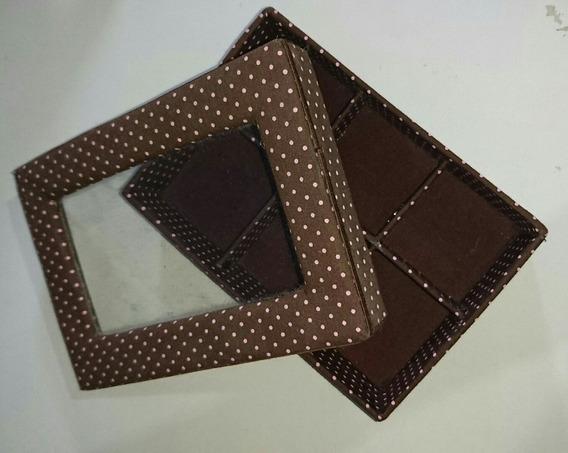 Porta Jóias Porta Treco Caixa Com Vidro E Divisórias
