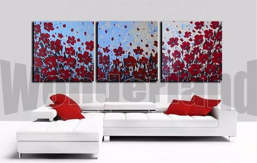 Cuadros Abstractos Tripticos Modernos Pintados A Mano 150x50