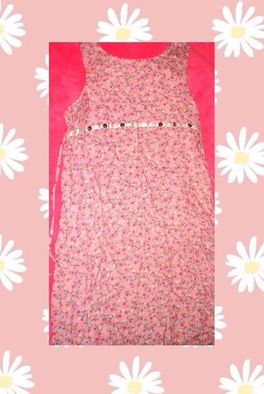 Vestido Floreado Rosa De Verano Para Chicas O Mujeres 90s