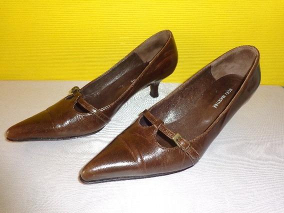 Sofi Martire Stiletto Zapato Color Marron Cuero Nro.38