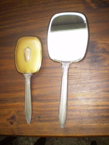 Set Antiguo De Cepillo Y Espejo Biselado