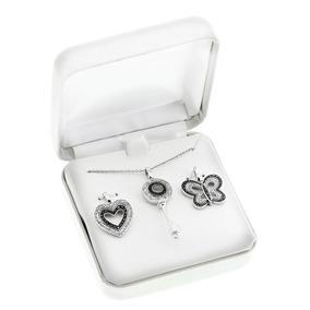 Conjunto Colar E Pingentes Em Prata .925 Com Diamantes