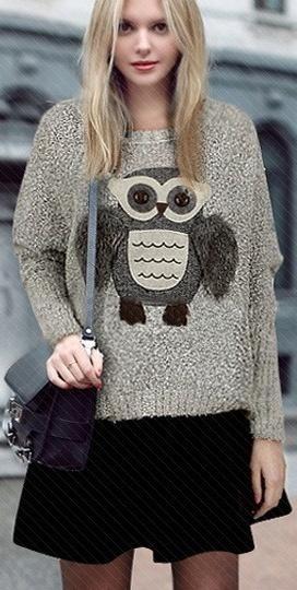 Blusa De Frio - Animal Print - Lã - Coruja - Importada