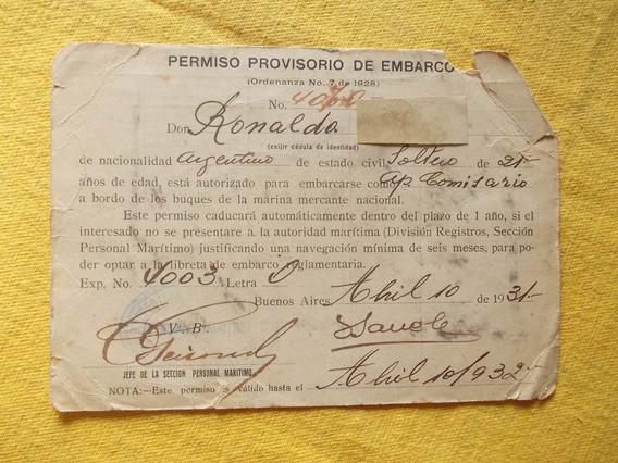 2262-permiso Provisorio Embarque Marina Merc.nac.año 1931