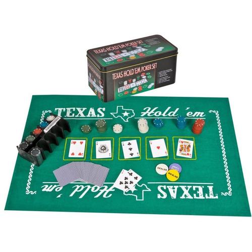 ¡ Set De Poker Tipo Casino Texas Hold Fichas Paño Cartas !!