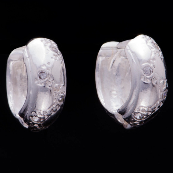 Brinco Argola Com Zircônia Em Prata 925 - 1,1cm X 1,0cm