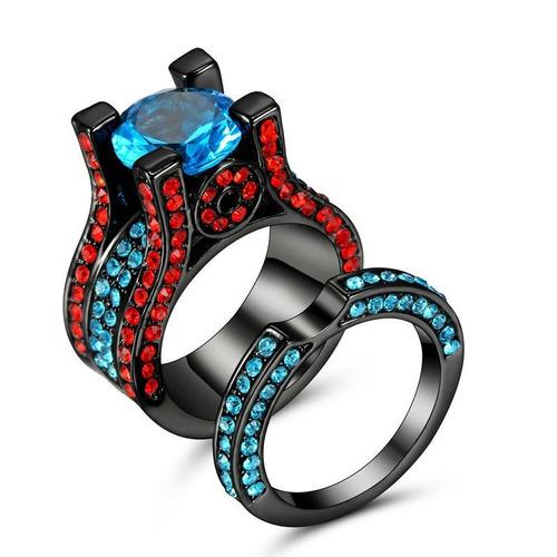 Anillo Doble Negro Piedras Azul Y Rojo Enchapado