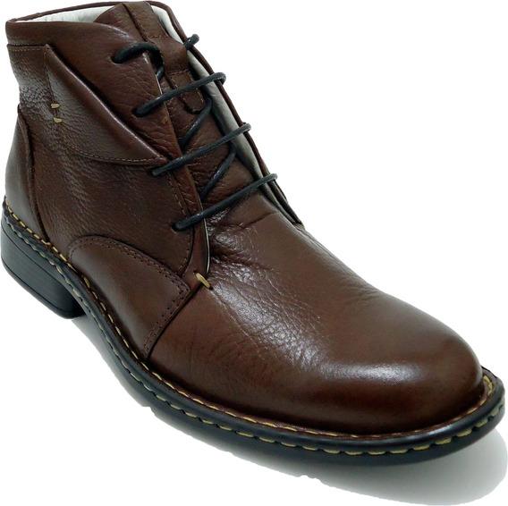 Sapato Social Casual Masculino Bota Confort Couro Legitimo