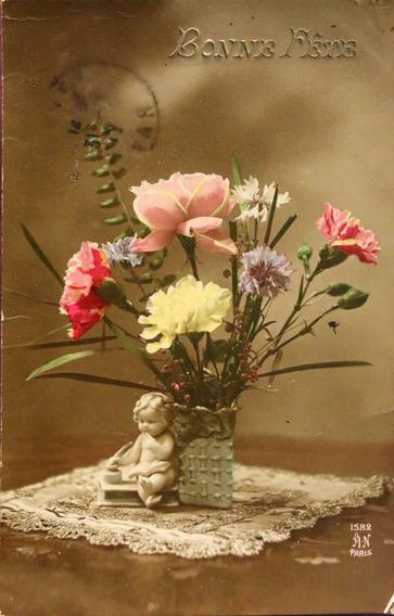 Antigua Postal Francesa Motivo Floral-1916 - (150508)