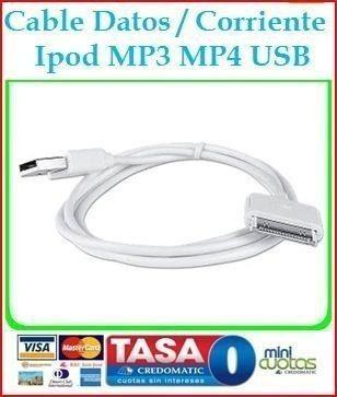 Cable Sincronizador Cargador iPhone 4s iPod Nano Touch Mp4