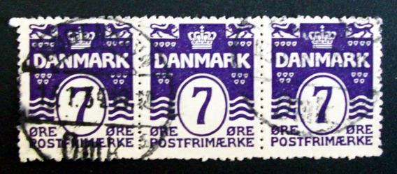 Dinamarca - Tira X 3 Sellos Yv. 194 Numeral 7o Usados L3247