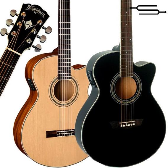 Guitarra Electroacustica Washburn Ea12 + Funda Acolchada