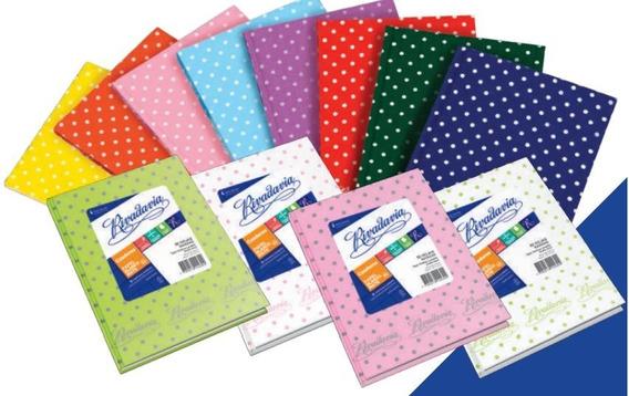 Cuaderno Rivadavia T/d X50h Rayado Rosa Lunares Gris