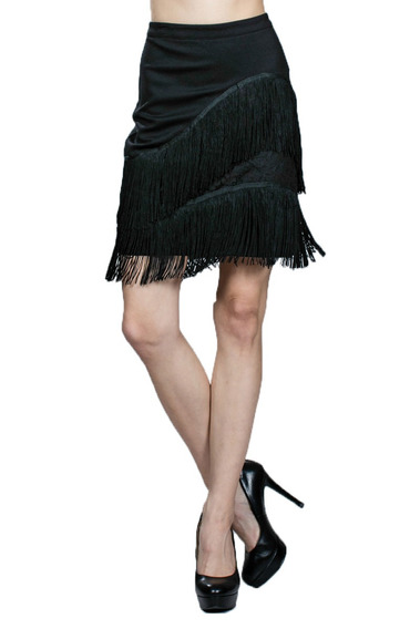 Minifalda Ark & Co. Negra Con Flecos