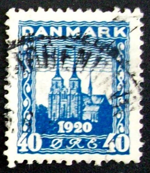 Dinamarca - Sello Yv. 126 40o Azul Alto Usado L3238