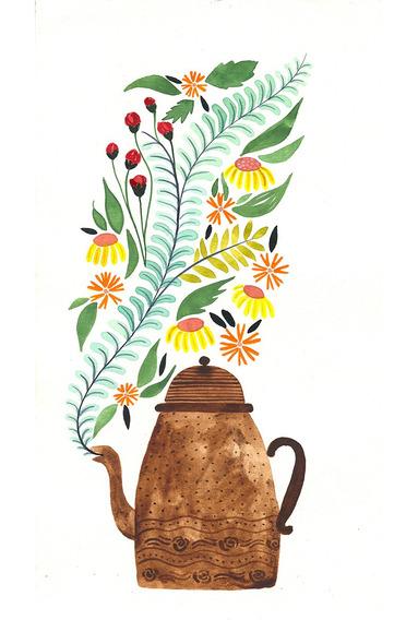 Acuarela Original Decoracion Floral, Botanica. Colorido Arte