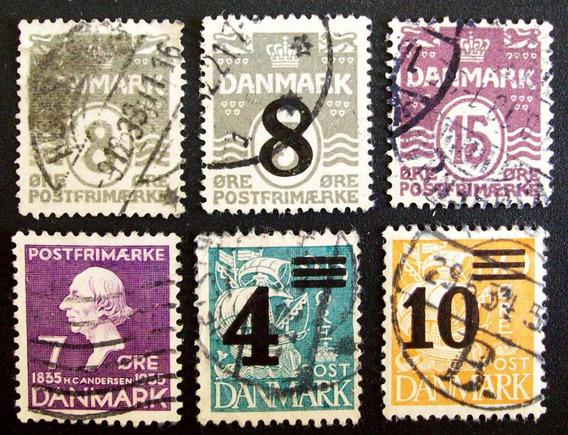 Dinamarca - Lote 6 Sellos Altos Resellos Usados L3258
