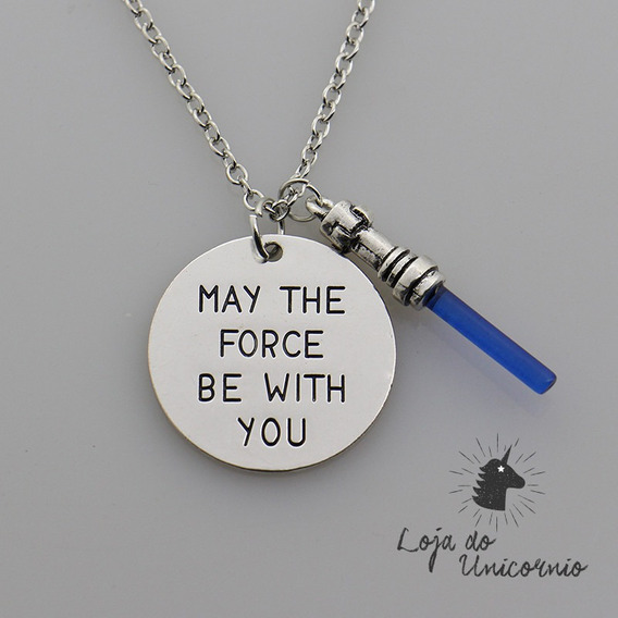 Colar Star Wars - May The Force Be With You Jedi Sabre Azul