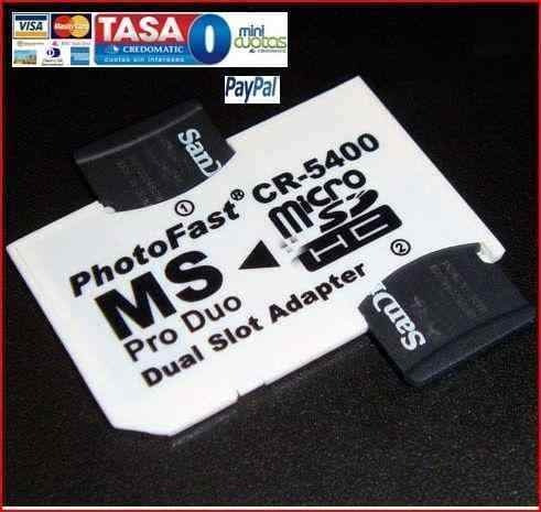 Memory Stick Adaptador Doble Microsd Sdhc Tf Ms Pro Duo Psp