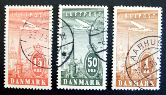 Dinamarca, Lote 3 Sellos Aéreos Yv 7-9-10 Altos Usados L3237