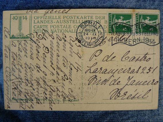 Cartão Postal 1914 Suiça Brazil Confiserie Merkur