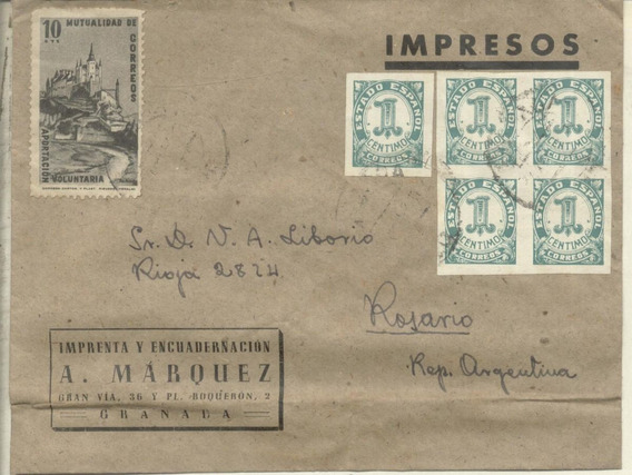 España - Sobre Circulado Granada Rosario (#2120)
