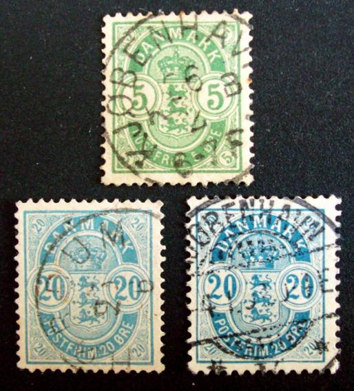 Dinamarca - Lote 3 Sellos Clásicos Altos Usados L3253