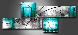 Cuadro Abstracto Moderno Poliptico Turquesa Calipso