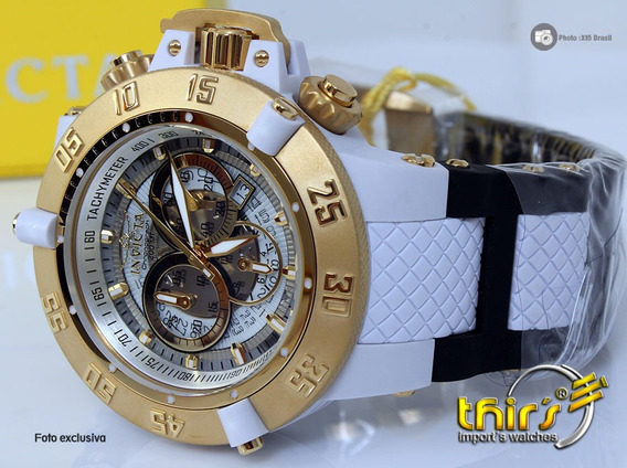 Invicta 0928 Subaqua 3 Branco - Bh Ouro 18k Original 50 Mm