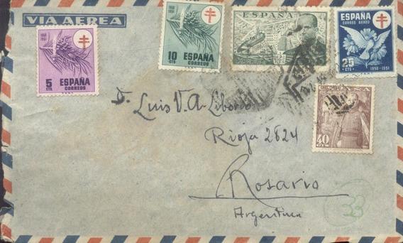 España - Sobre Circulado Alcazar/ Rosario 1951 (#2117)