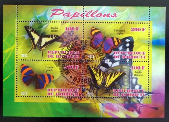 Djibouti Mariposas, Bloque 4 Sellos 2013 Usado L6979