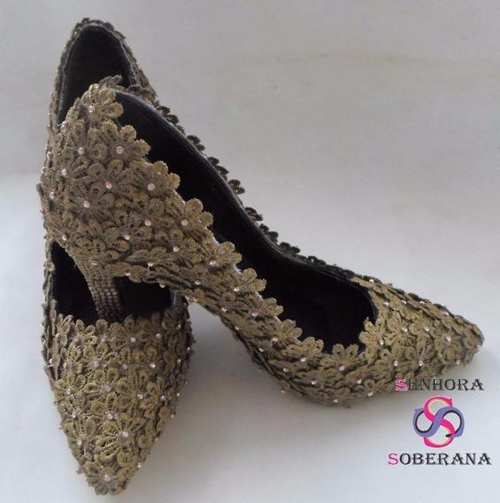 Sapato Dourado Florado Perolado Noivas (casamento)