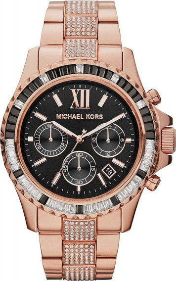 Relógio Luxo Michael Kors Mk5875 Orig Chron Anal Gold Black