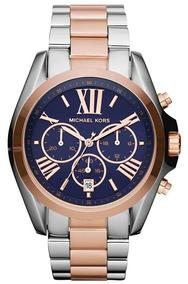Relógio Michael Kors Mk5606 Azul E Rose 12 X S/juros
