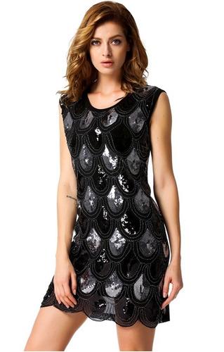 Vestido Con Lentejuelas Negro Y Dorado Talla M En Stock